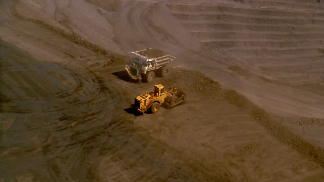 Aerial past and over bulldozer dumping rock + large dumptruck / strip mine in background