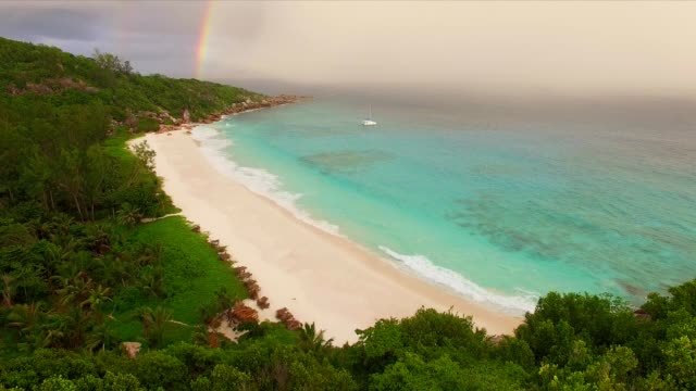 Aerial: Petite Anse, La Digue Island, Seychelles