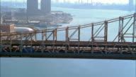 Aerial point of view along Queensboro Bridge and Roosevelt Island in East River to Manhattan