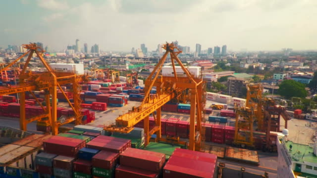 Aerial point of view Cargo Container Port