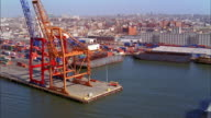 Aerial point of view industrial waterfront and shipyards / NYC