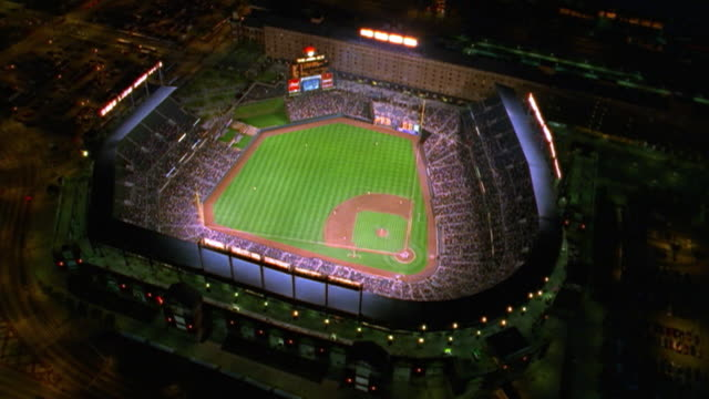 Aerial point of view over Camden Yards during Baltimore Orioles baseball game at night / Maryland