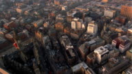 Aerial point of view over city of Manchester, England