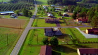 Aerial point of view over houses next to road in rural landscape / Greenville, South Carolina