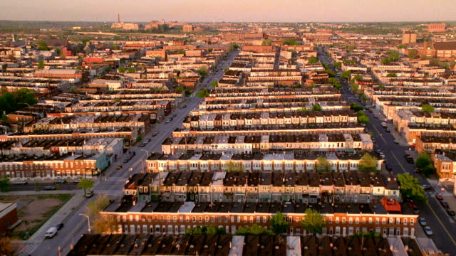 Aerial point of view over residential area of Baltimore with row houses / Maryland