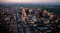 Aerial point of view over skysrapers and Bow Rriver in downtown Calgary / Alberta, Canada