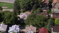 Aerial point of view over suburban Chicago neighborhood / Illinois