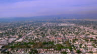Aerial point of view over suburban Southern Los Angeles / California