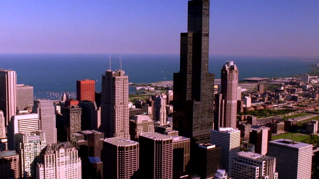 Aerial point of view towards and around Sears Tower / Chicago, Illinois