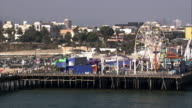 Aerial CU Santa Monica Pier / Los Angeles, California, United States