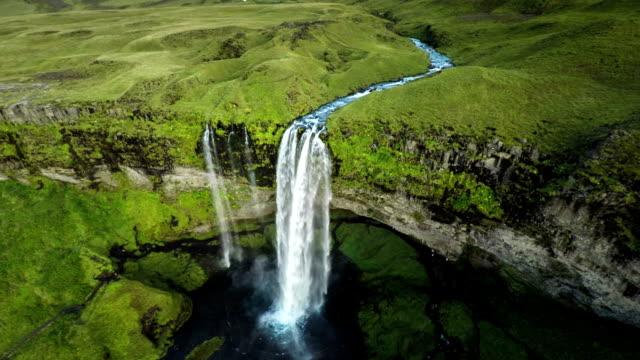 Aerial Seljalandsfoss Waterfall, Iceland