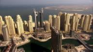 Aerial sequence across the city of Dubai, United Arab Emirates.