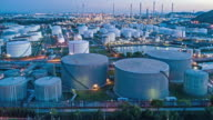 Aerial shoot of Oil refinery factory in Thailand