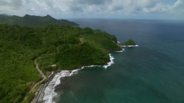 Aerial Shot Along Coast Of Dominica