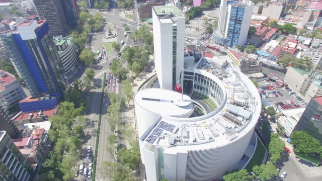 Aerial shot around the Senado de la Republica's roof and the Mexican Flag in Reforma Avenue, Mexico City
