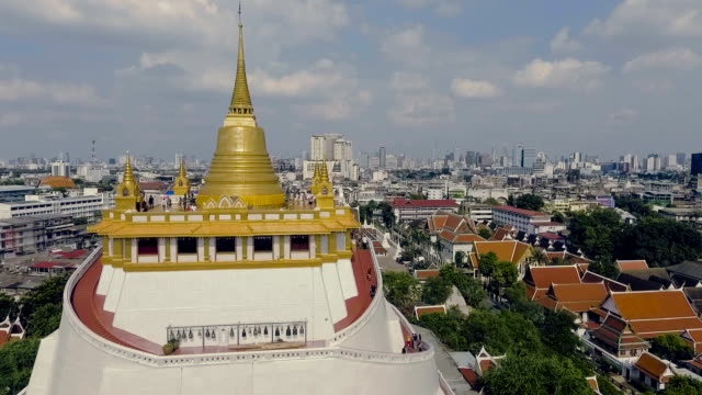 Aerial shot : Bangkok CityScape View From Wat Saket
