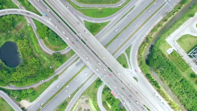 Aerial shot busy freeway in Bangkok Thailand