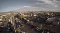 Aerial shot, car impound lot