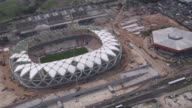 Aerial Shot construction at Arena Da Amazonia in Manaus Brazil continues A strike over safety conditions following a fatal accident has halted...