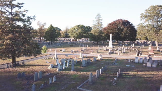 Aerial shot of a cemetery at sunset.