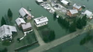 Aerial Shot Of A Flooded Village