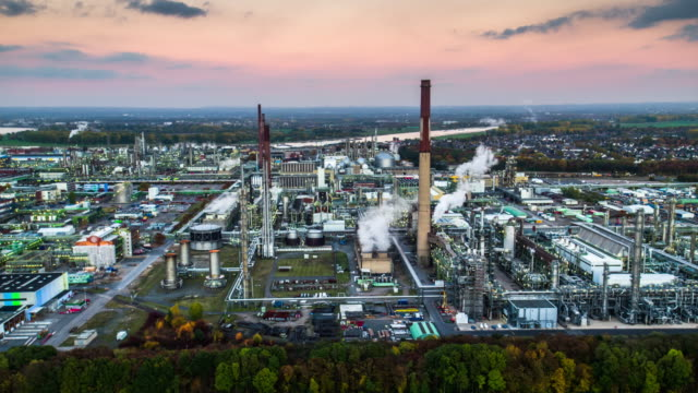 Aerial shot of a Petrochemical Plant at dusk