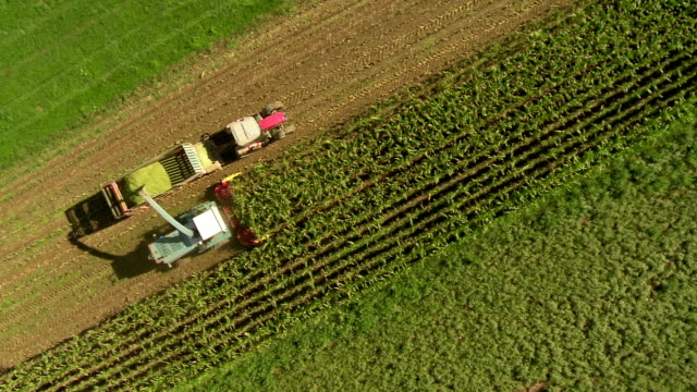 HD: Aerial Shot Of A Silage Harvester