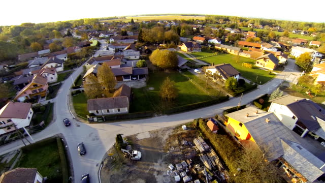 HD: Aerial Shot Of A Village