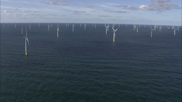 Aerial shot of a wind farm off the coast of Denmark.