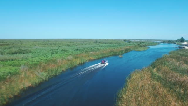 Aerial shot of airboat on swamp