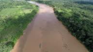 Aerial Shot of Amazon River & Rainforest, boat revealed