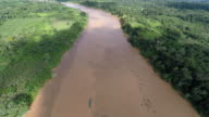 Aerial Shot of Amazon River & Rainforest + Boat