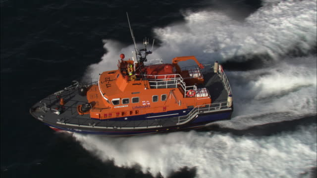 Aerial shot of an RNLI lifeboat sailing along the coast of County Donegal.