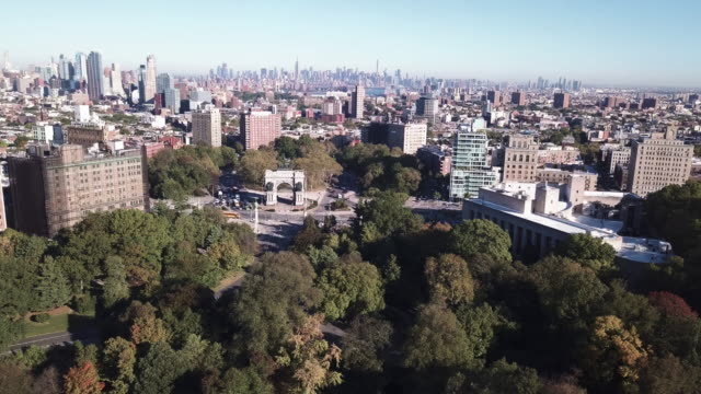 Aerial shot of Brooklyn's Propsect Park and Grand Army Plaza