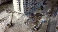 Aerial shot of building demolition