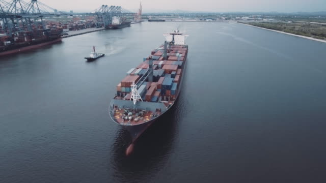 Aerial shot of cargo container ship
