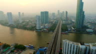Aerial shot of Chao Phraya River, Bangkok