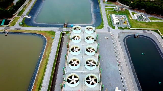 Aerial shot of cooling tower and cooling fan of combine cycle power plant