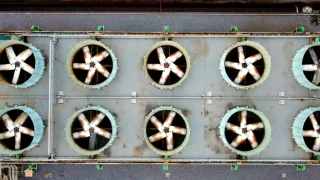 Aerial shot of Cooling tower of combined cycle power plant