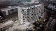 Aerial shot of demolished concrete Buidling