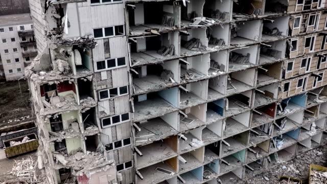 Aerial shot of demolished concrete building.