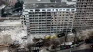 Aerial shot of destroyed building