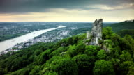 Aerial shot of Drachenfels and Rhine River in Germany