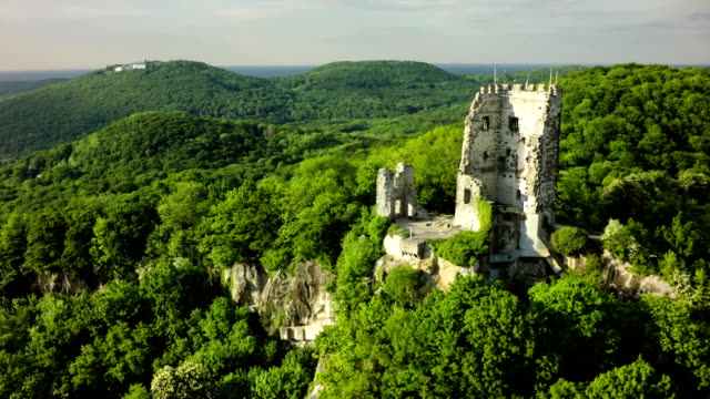 Aerial shot of Drachenfels Castle - Siebengebirge Germany