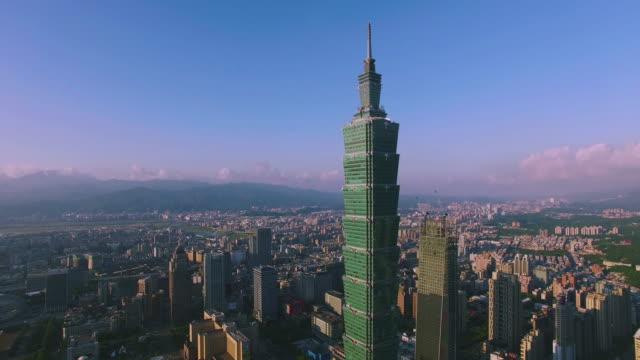 Aerial shot of financial district in City Taipei at dawn, Taiwan