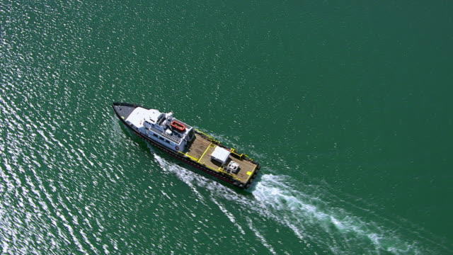 Aerial Shot Of Fishing Boat In Ocean Stock Footage Video ...