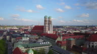 Aerial shot of Frauenkirche towers, Munich (Germany)