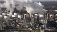 Aerial shot of industrial district with smoking stacks in New Jersey. Shot in 2011.