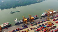 Aerial shot of Industrial port with containers ship