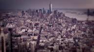 Aerial shot of New York at rain day